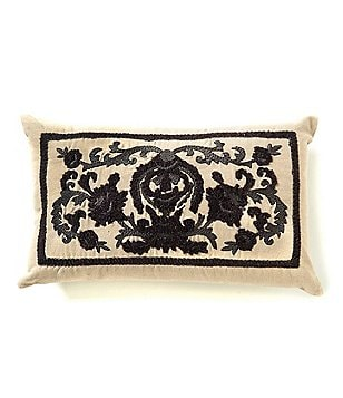 Southern Living Floral Crest-Embroidered Cotton & Linen Pillow