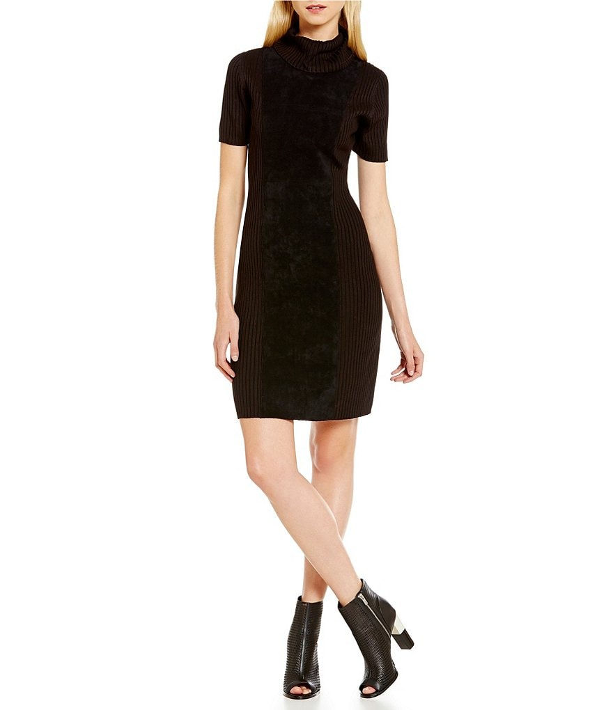 Calvin Klein Faux Suede Front Panel Ribbed Knit Turtleneck Sweater Dress