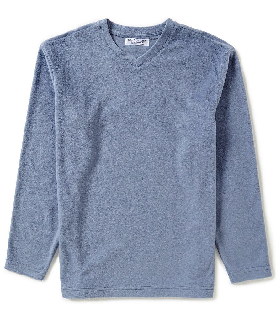 Roundtree & Yorke V-Neck Long-Sleeve Microfleece Tee