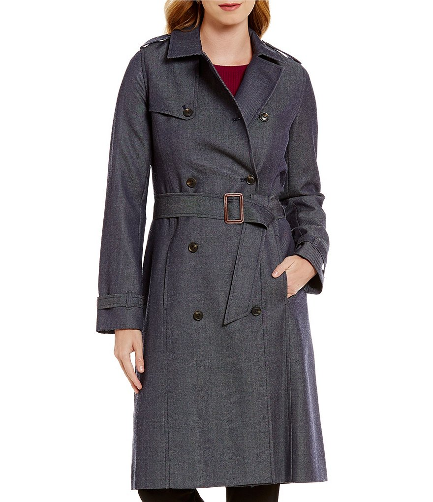 Pendleton Wool Denim Double-Breasted Trench Coat