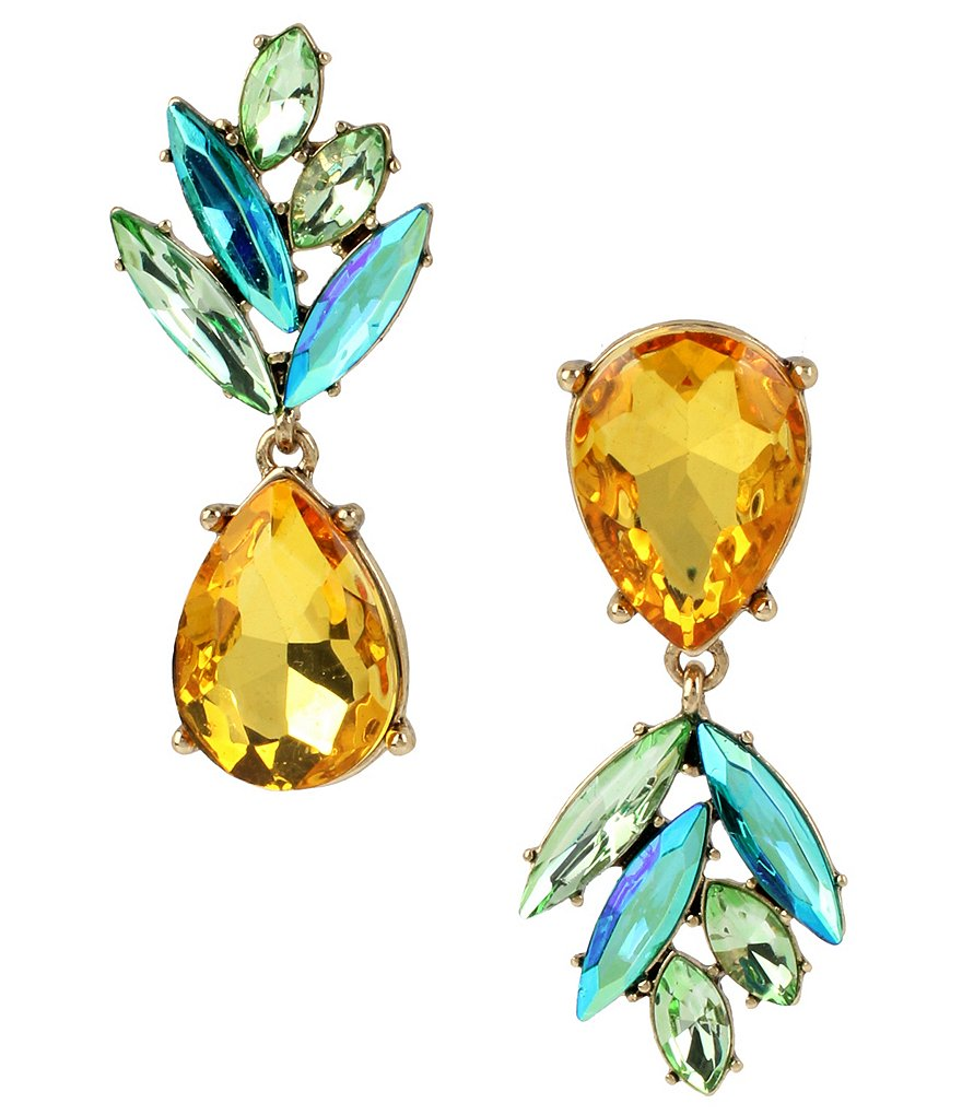 Betsey Johnson Pineapple Faceted Stone Mismatched Drop Earrings
