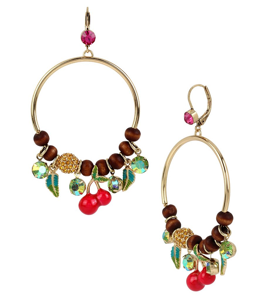 Betsey Johnson Cherry Mixed Bead Hoop Earrings