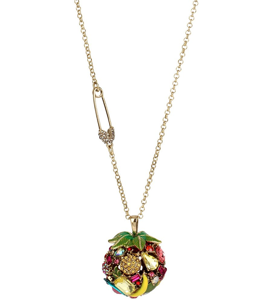 Betsey Johnson Fruit Faceted Stone Ball Pendant Necklace