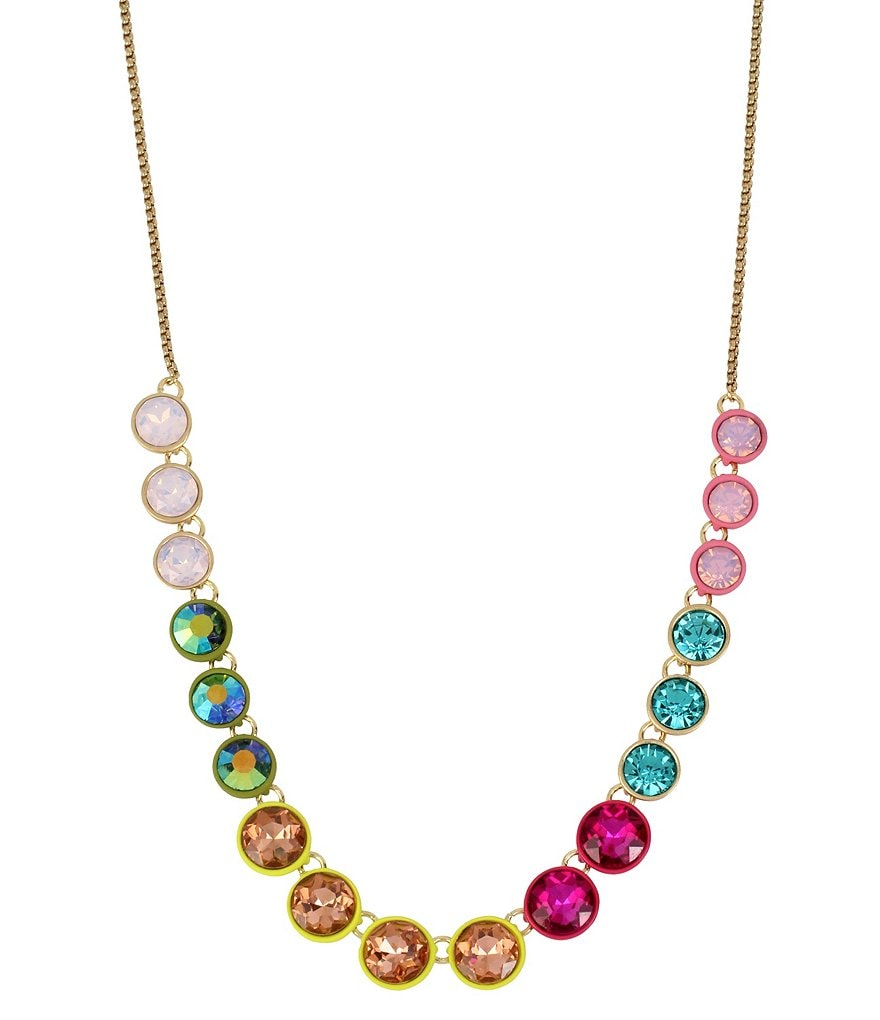 Betsey Johnson Pastel Multi-Colored Faceted Stone Chain Frontal Necklace