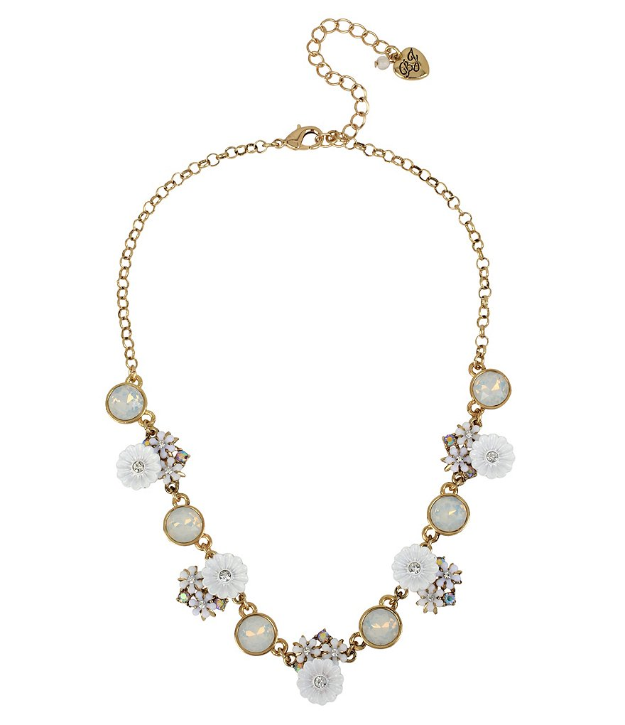 Betsey Johnson Flower and Faceted Stone Chain Collar Necklace