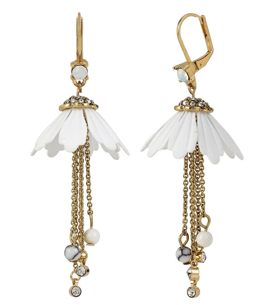 Betsey Johnson Flower and Chain Drop Earrings