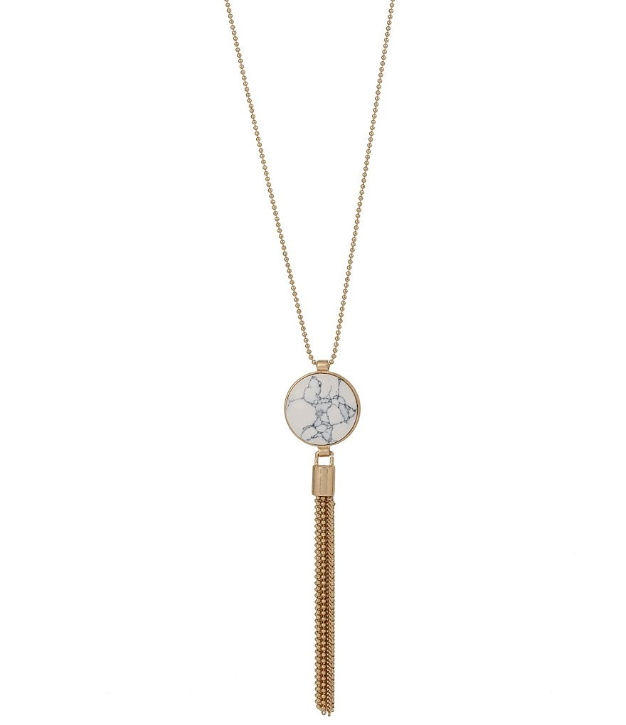 Kenneth Cole New York Tasseled Howlite Pendant Necklace