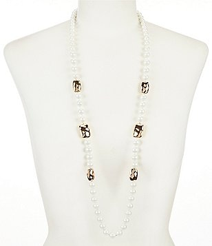 Kennedy Row Faux-Pearl & Hammered Metal Station Necklace