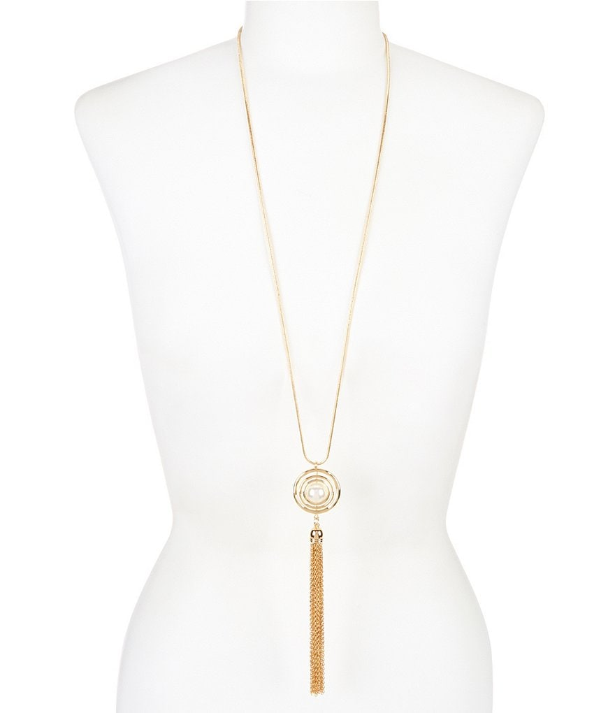 Dillard´s Orbital Pearl Long Tassel Necklace