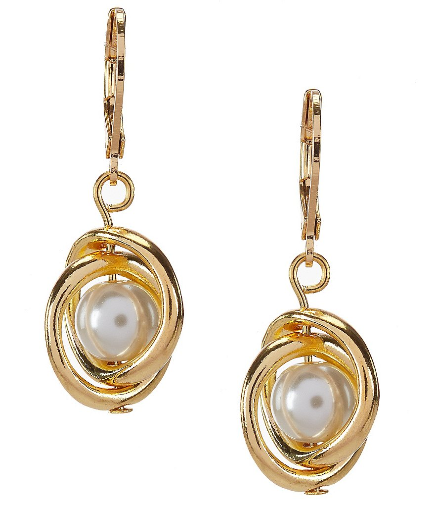 Dillard´s Tailored Orbital Pearl Leverback Earrings