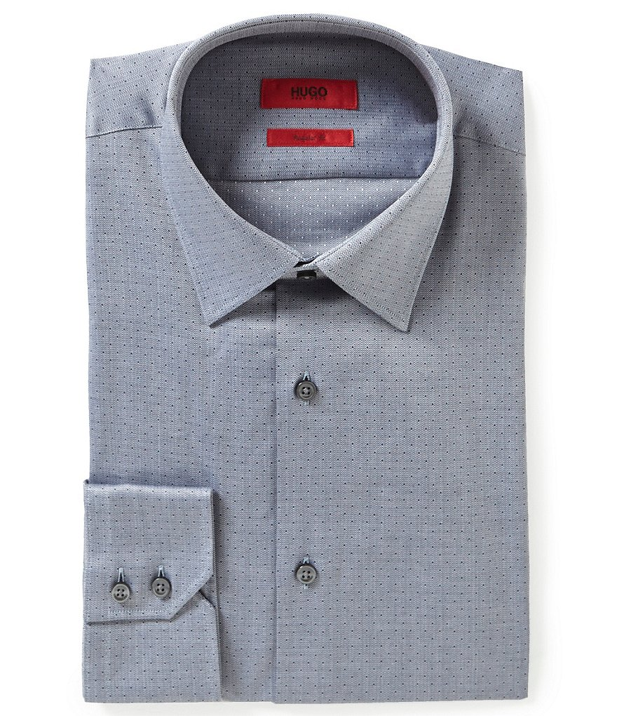 HUGO HUGO BOSS Menzo Fitted Classic-Fit Point-Collar Dotted Dress Shirt