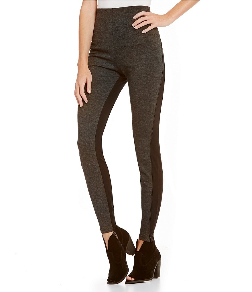 HUE Lean Line Collection High-Waist Piped Ponte Leggings