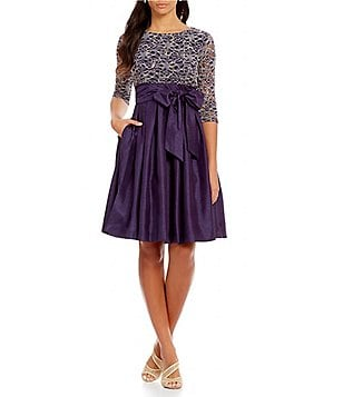Jessica Howard Petite 3/4 Sleeve Tie-Waist Party Dress