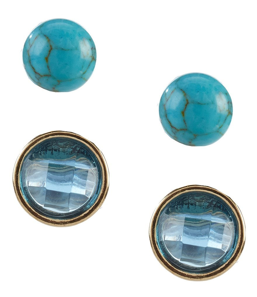 Anne Klein Turquoise Stud Earrings, Set of 2