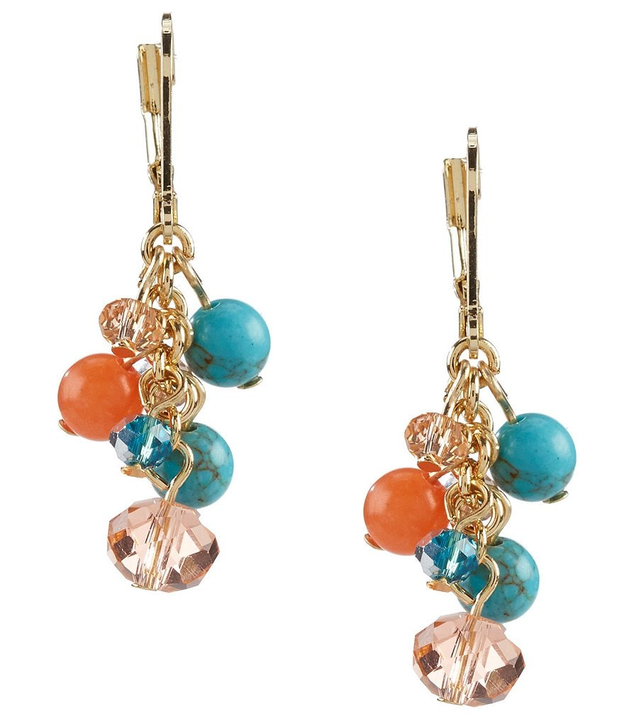 Anne Klein Cluster Stone and Glass Drop Earrings
