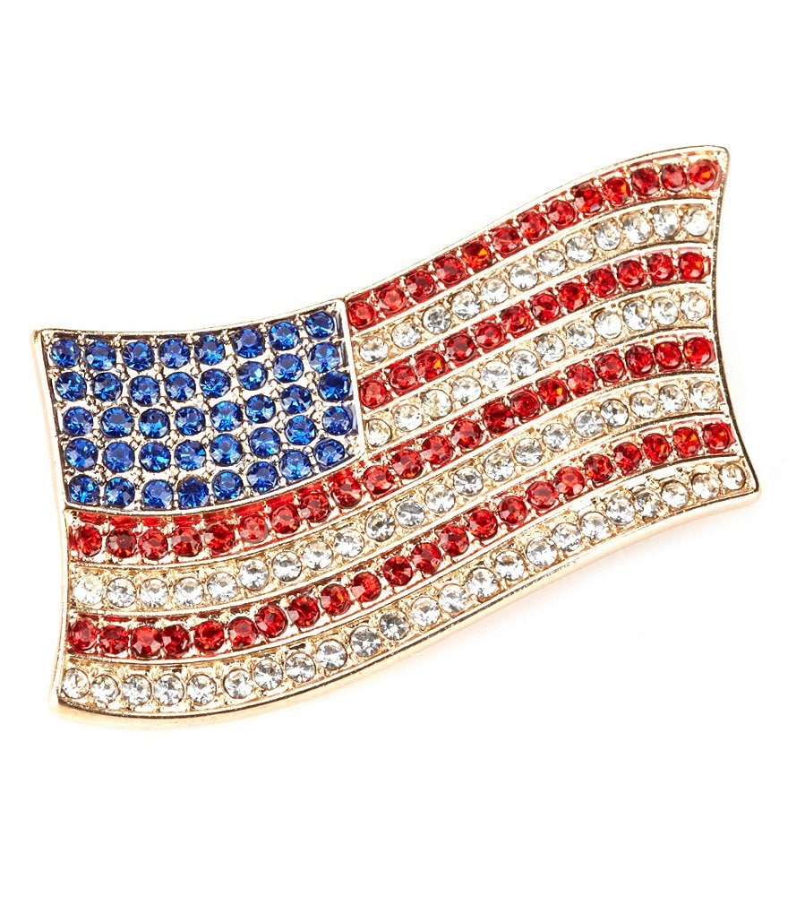 Anne Klein Crystal Flag Pin