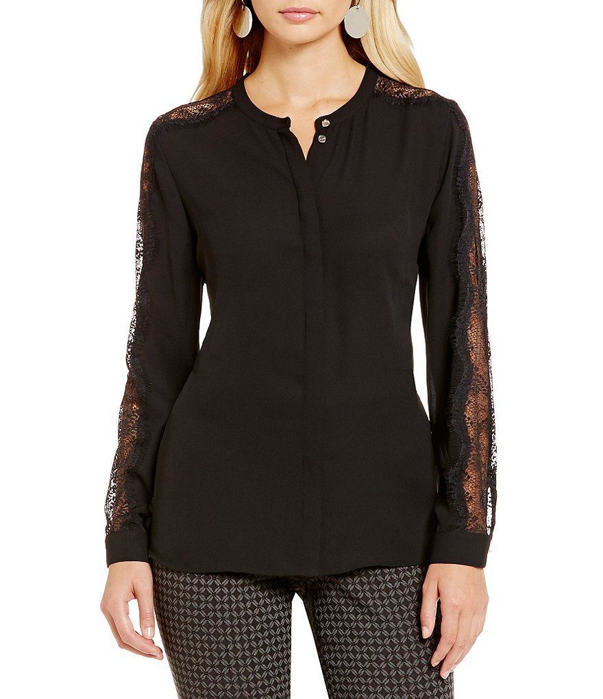 Vince Camuto Lace Sleeve Button-Down Blouse