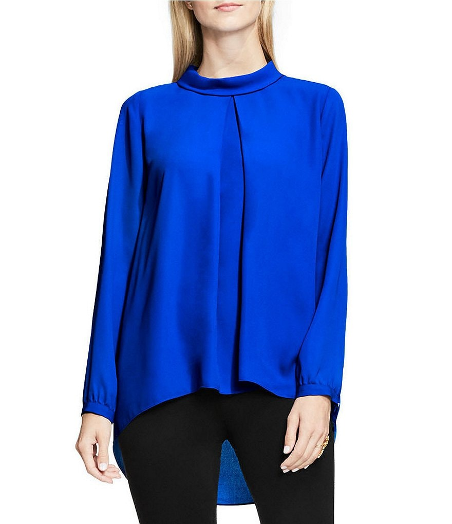 Vince Camuto Mock Neck Invert Pleat Blouse