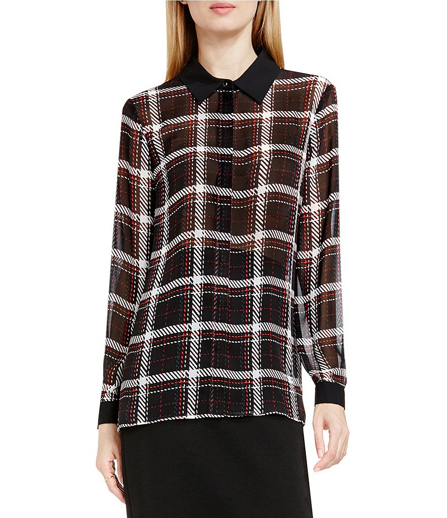 Vince Camuto Harbor Plaid Button Front Blouse