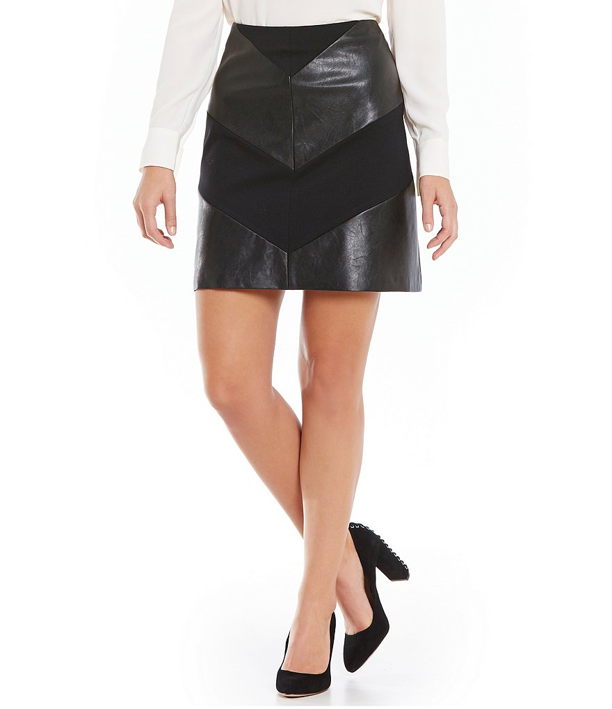 Vince Camuto Faux-Leather Ponte A-Line Skirt