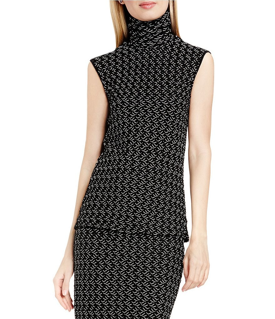 Vince Camuto Turtleneck Cable Knit Sleeveless Top