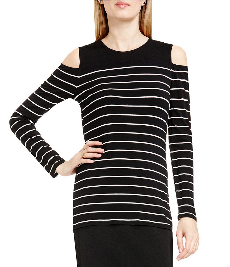 Vince Camuto Willow Stripe Cold Shoulder Long Sleeve Top