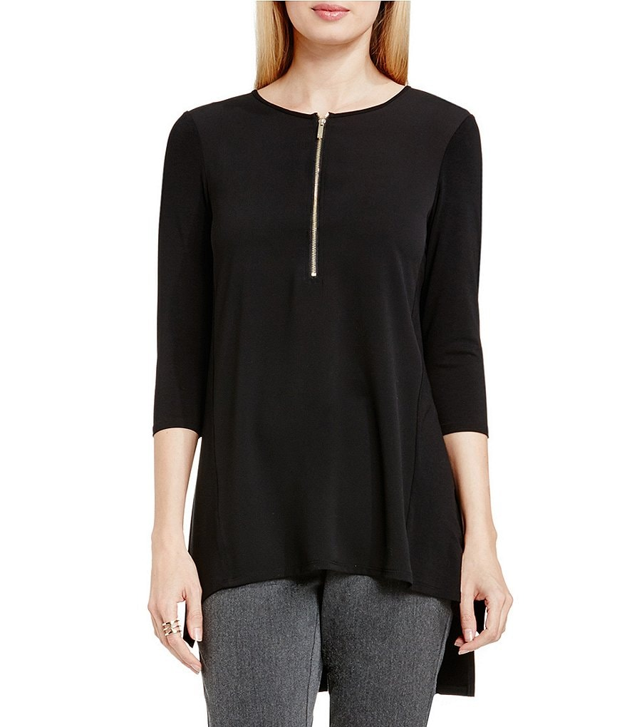 Vince Camuto Soft Texture Half Zip 3/4 Sleeve Top