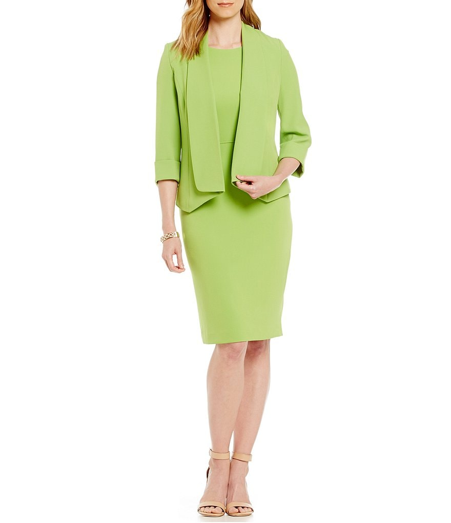 Kasper Crepe Cardigan Jacket & Sheath Dress