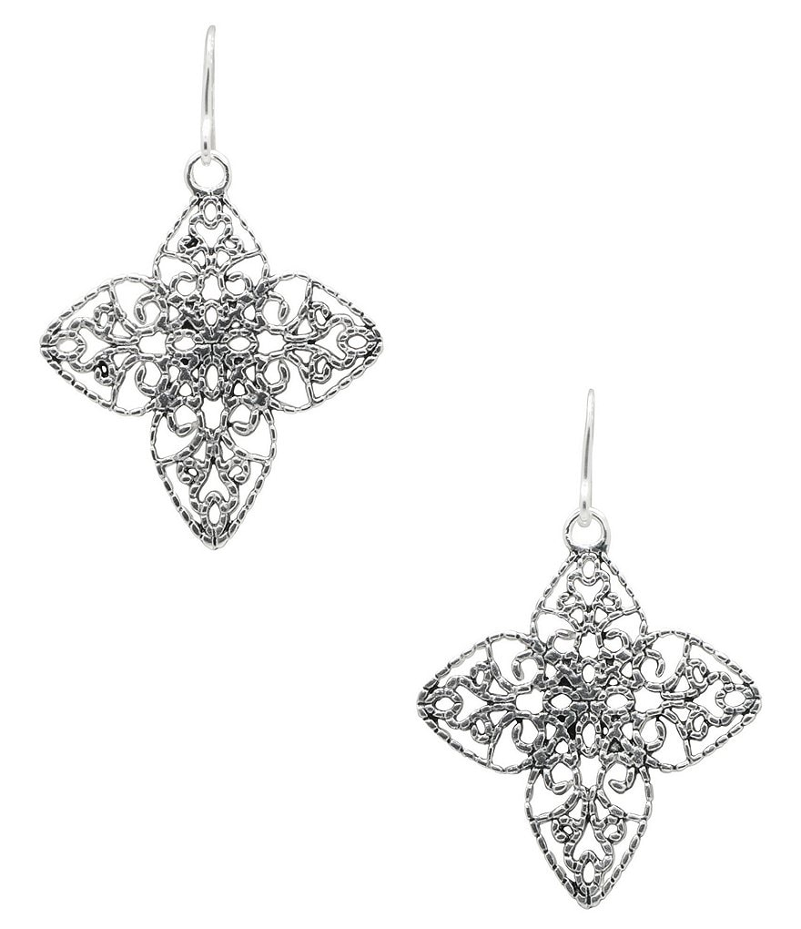 Barse Sterling Silver Openwork Cross Drop Earrings