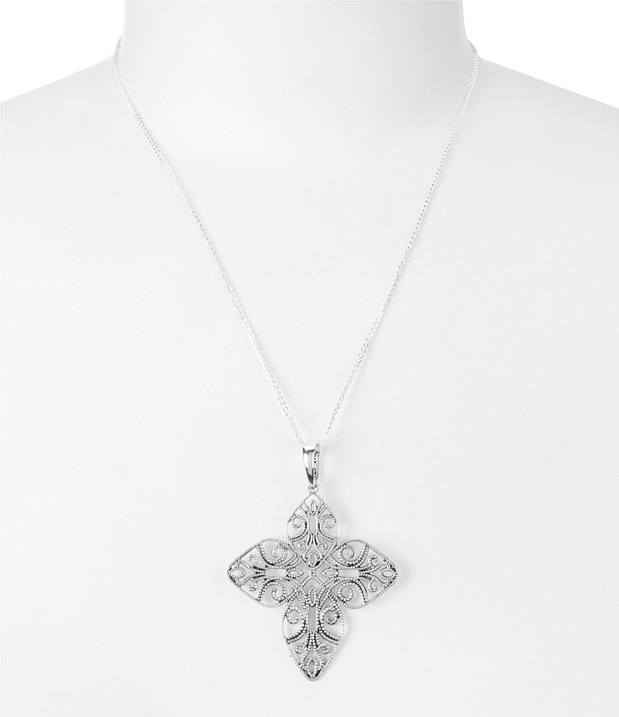 Barse Sterling Silver Openwork Cross Pendant Necklace