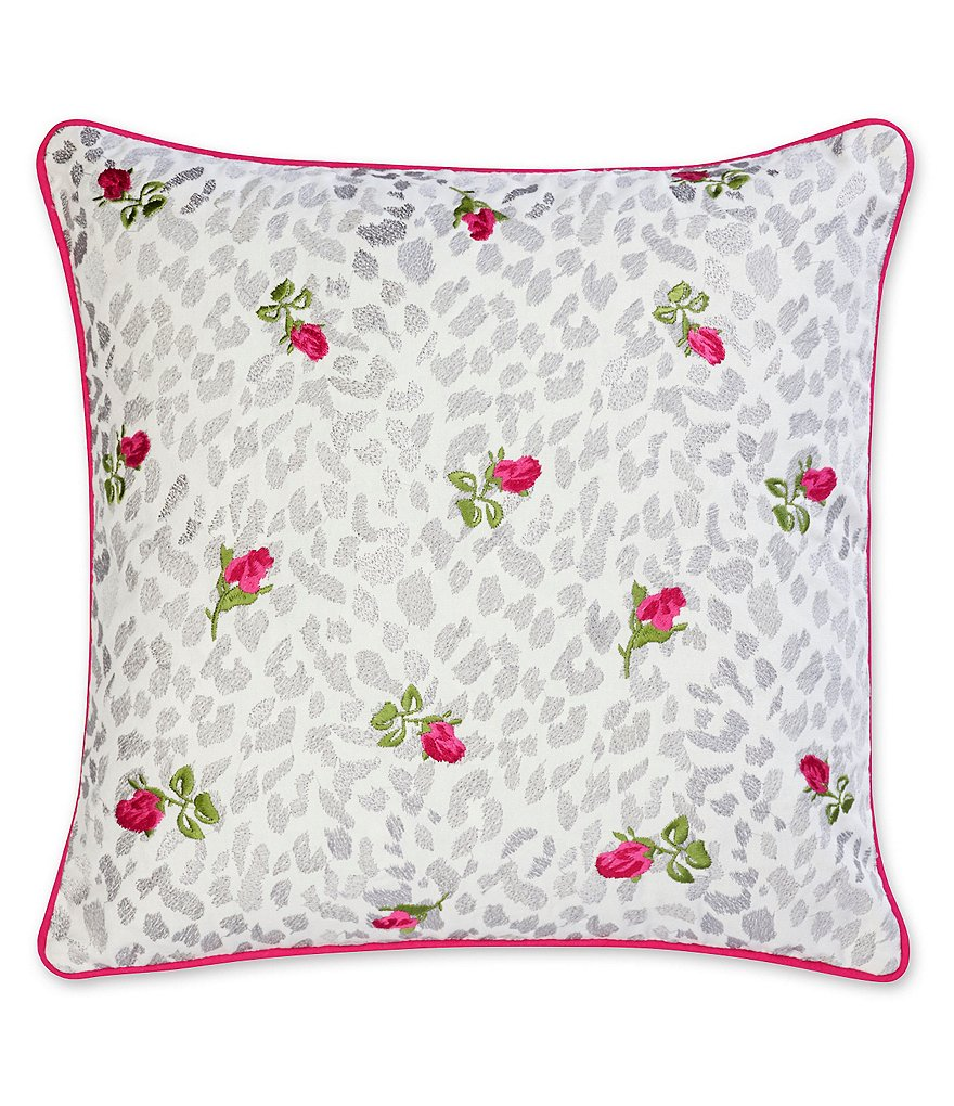 Betsey Johnson Polished Punk Leopard & Rose-Embroidered Square Pillow