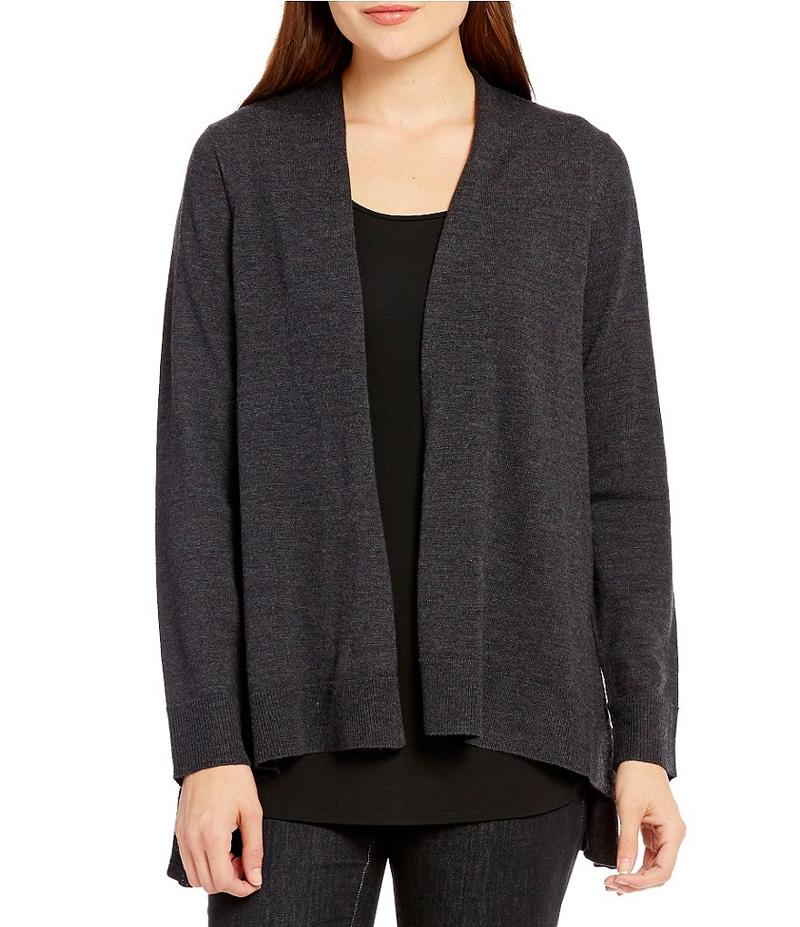 Eileen Fisher Open Front Angled Hem Wool Cardigan