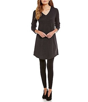 Eileen Fisher V-Neck Solid Wool Dress
