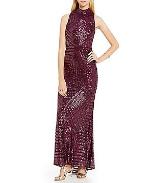 Vince Camuto Geo Mock Neck Sequin Gown