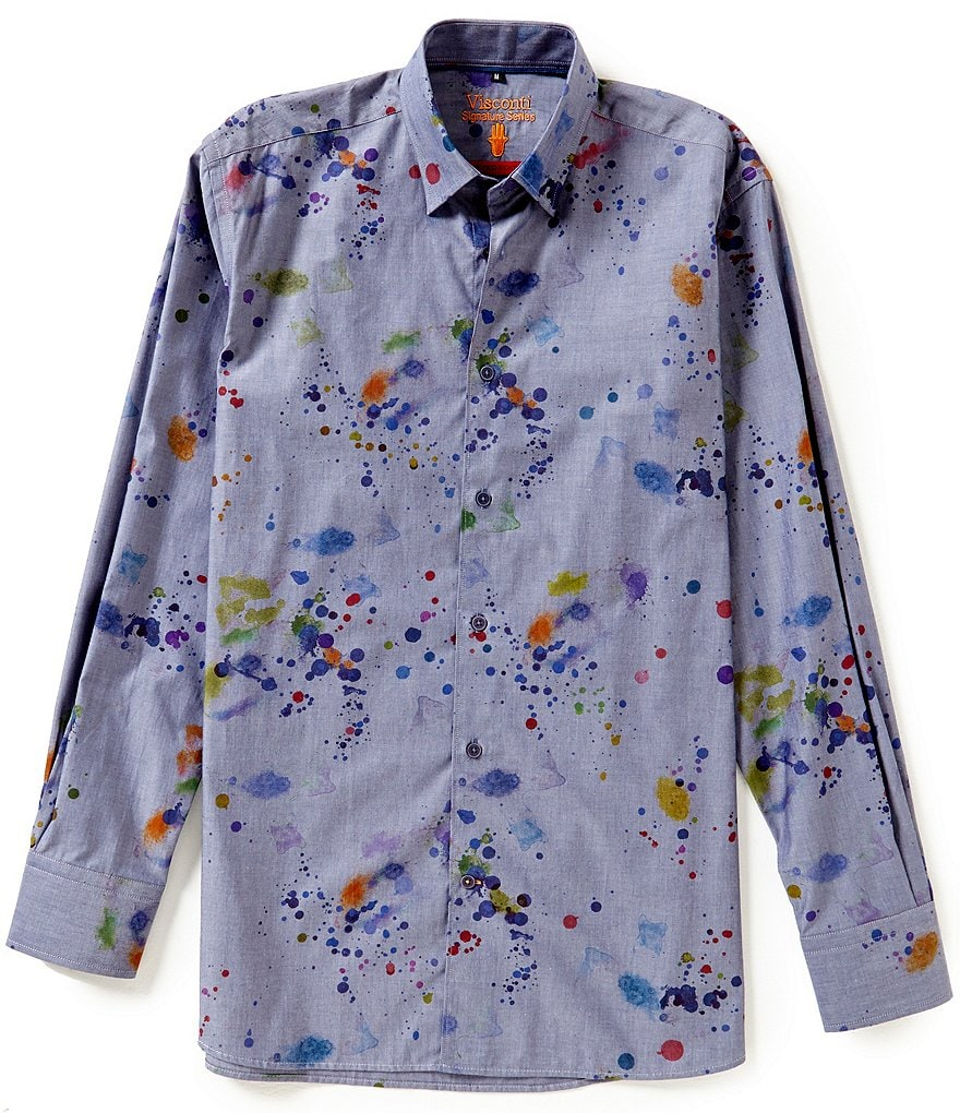 Visconti Long-Sleeve Splatter Paint Print Woven Shirt