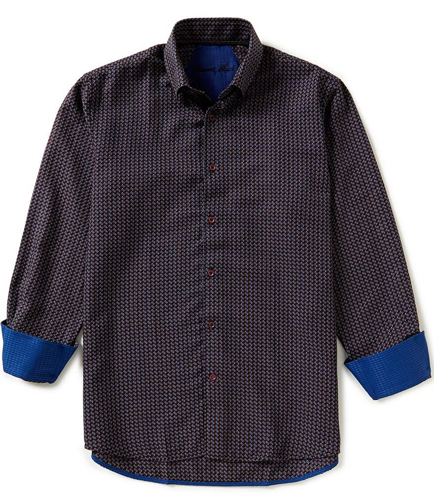 Visconti Long-Sleeve Jacquard Woven Shirt