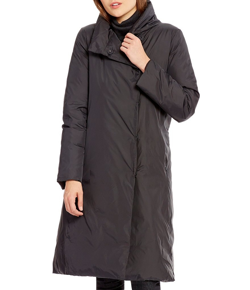 Eileen Fisher Stand Collar Weather Resistant Down Coat