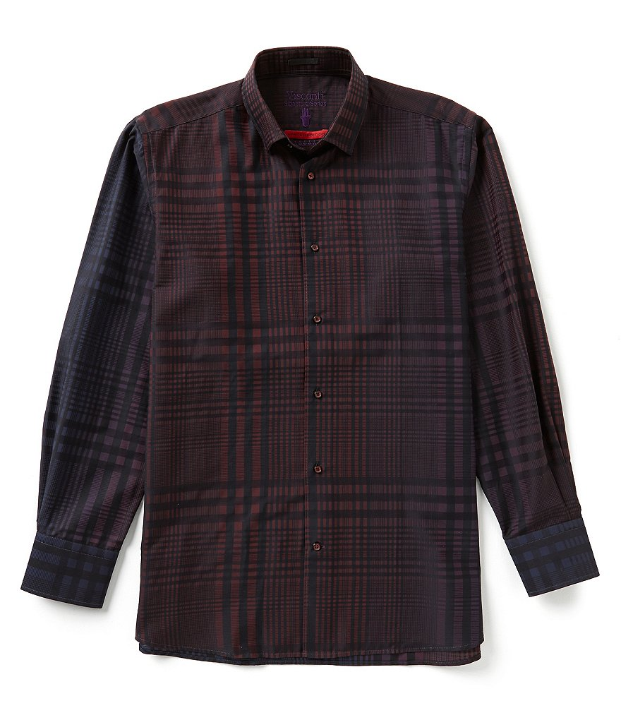 Visconti Long Sleeve Plaid Jacquard Shirt