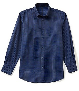 Visconti Long-Sleeve Box Check Woven Jacquard Shirt