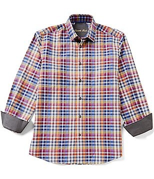 Visconti Long-Sleeve Spread Collar Plaid Woven Shirt