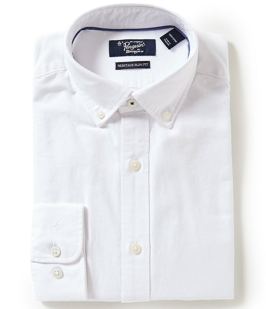 Original Penguin Heritage Slim-Fit Button-Down Collar Solid Oxford Dress Shirt