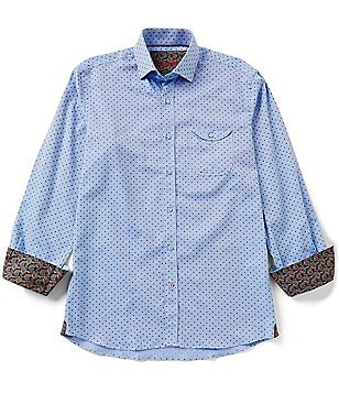 Visconti Long-Sleeve Contrasting Cuff Printed Dobby Woven Shirt