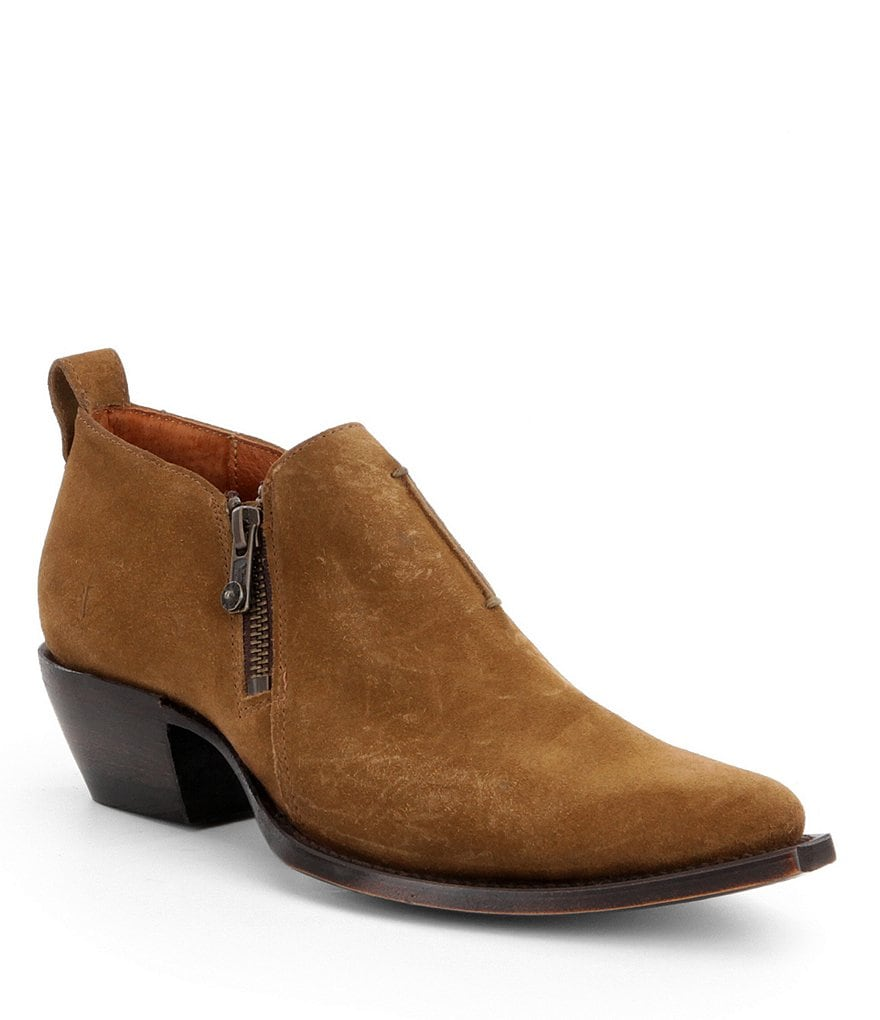 Frye Sacha Moto Zip Block Heel Shooties