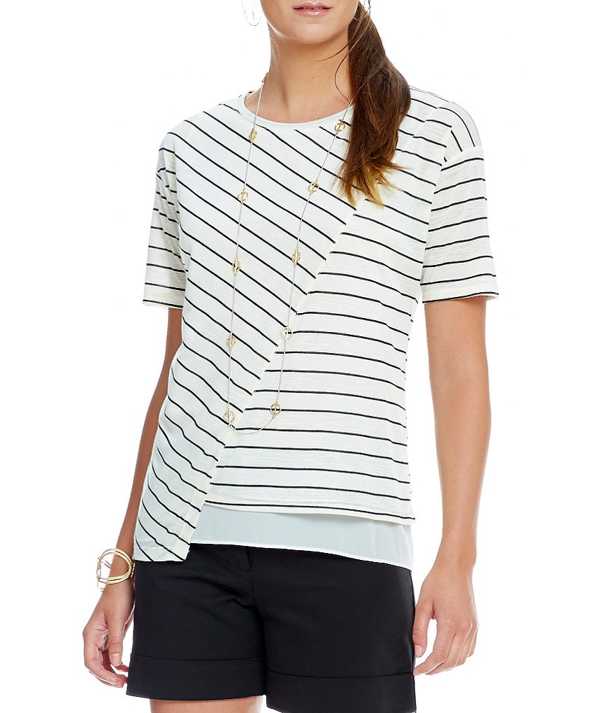 Gibson & Latimer Knit Multi- Striped Short Sleeve Tee