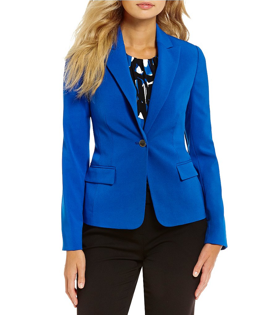 Calvin Klein Petites Luxe Stretch One-Button Suit Jacket