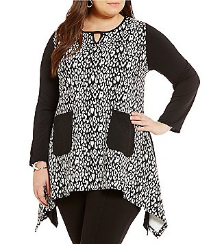 Calessa Plus Jeweled Keyhole Neck 3/4 Sleeves Animal Print Tunic