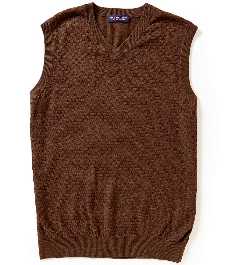 Roundtree & Yorke Basketweave V-Neck Sweater Vest