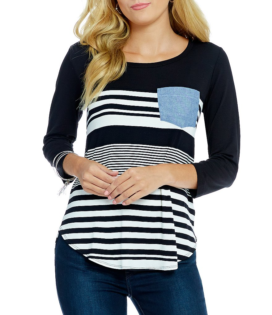 Bobeau 3/4 Sleeve Striped Pocket Tee