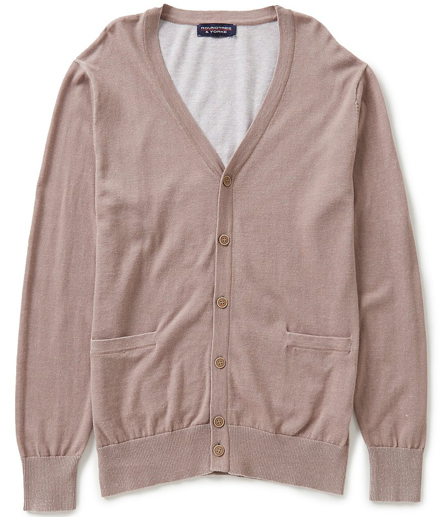 Roundtree & Yorke Cotton Plaited Cardigan Sweater