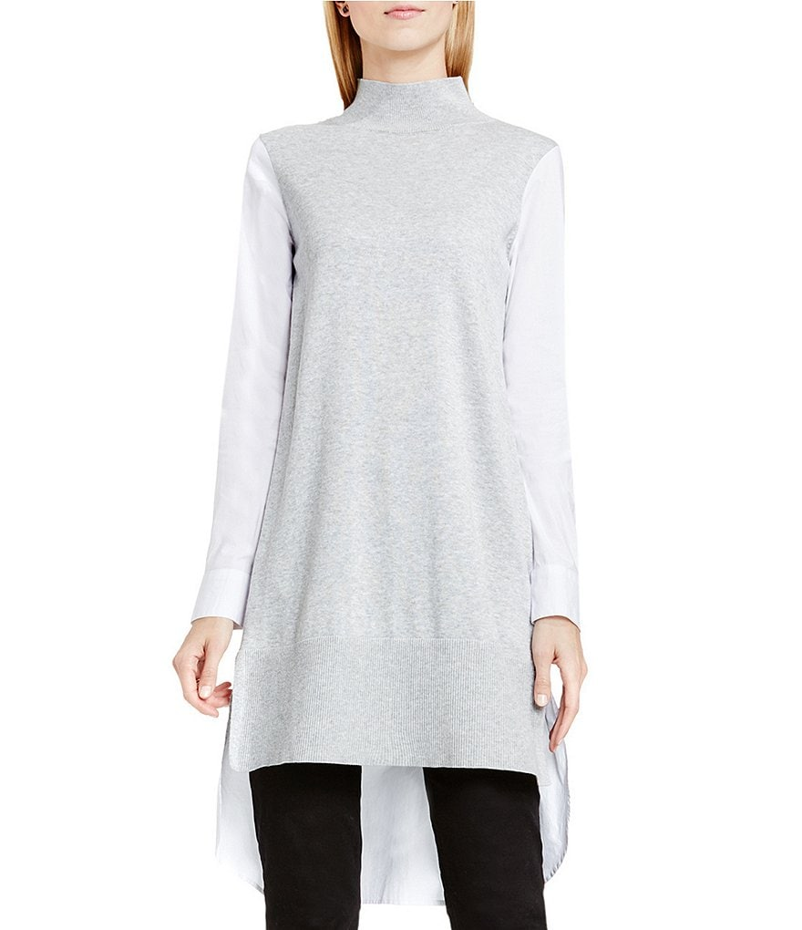 Two By Vince Camuto Long Tunic With Cotton Poplin